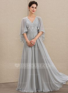A-Line V-neck Floor-Length Chiffon Lace Mother of the Bride Dress With Beading Sequins - Mother of the Bride Dresses - JJ's House Mother Of The Bride Dresses Long, Mothers Dresses, Mob Dresses, Wedding Dresses, Vestidos Chiffon, Vestidos Plus Size, Bride Groom Dress, Custom Dresses, I Dress