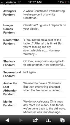 Fandoms during Christmas - I love this. Supernatural: Not again ...  Sherlock: Oh look, everyone's saying hello to one another. How wonderful.  :)
