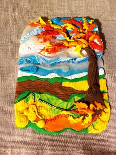 Oak tree scene pictured in mixed media and textured polymer clay with mini display easel Middle School Art Projects, Craft Projects For Kids, Projects To Try, Trees For Kids, Art For Kids, Display Easel, Play Clay, Kids Artwork, Oak Tree