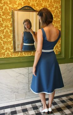 Simple Blue Retro Dress by Red Juliet