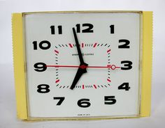 Retro Vintage Wall Clock  Description:  1960's Funky Yellow Kitchen Clock made by: GE