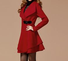 Red Peacoat with side closure and ruffled bottom detail