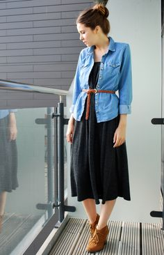 Maxi skirt (worn as dress), denim and ankle boots