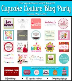 Java Cupcake has rounded up 21 bloggers to throw one pretty awesome Cupcake Couture party, and you're invited! 20 cupcake recipes AND easy to create displays PLUS $565 in cupcake prizes!! Check out my cupcake display, and enter to win here: http://makebakecelebrate.com/pink-champagne-cupcakes-cupcake-couture-blog-party/