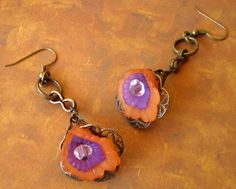 Tangerine Lucite Lily Earrings by marokel on Etsy, $14.00