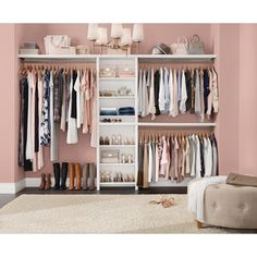 ClosetMaid Impressions Basic 60 Zoll B 120 Zoll W White Wood Closet Das Home Depot Closet Makeover Glam Bedroom, Bedroom Closet Design, Room Ideas Bedroom, Closet Designs, Bedroom Turned Closet, Spare Room Closet, Closet Space, Closet Wall, Closet Rooms
