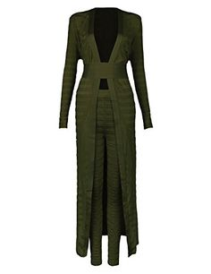 1c532a09a970 iFashion Womens Long Sleeve Cardigan And Legging Bandage 2 Piece Set Romper  is Sexy XS olive        AMAZON BEST BUY