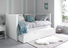 Aprodz Solid Wood Acton Daybed with Trundle Bed for Living Room Sofa Daybed, Daybed Room, Daybed With Trundle, White Trundle Bed, Day Bed Decor, Blue Bedroom Decor, Home Decor, Bedroom Ideas, White Bedroom