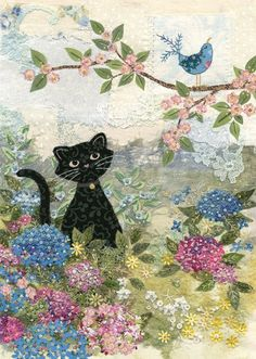 Garden Cat  | A017 | Original embroideries by Amy Butcher. Cards designed by Jane Crowther. Embossed with gold foil and varnish to enhance the textile image