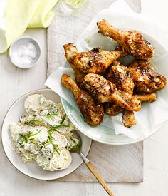 Australian Gourmet Traveller recipe for spiced drumsticks with potato and pickle salad.