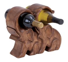 Table Top Wood Elephant Wine Holder