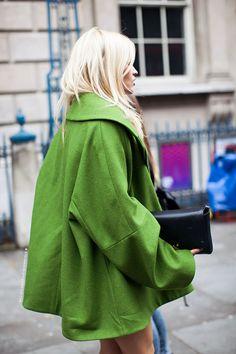 green coat + blonde hair