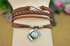 Silver Infinity wish bracelet  Camera bracelet  by TheGiftWorld, $3.99 Fashion handmade leather bracelet crafted personality,best friendship gift.