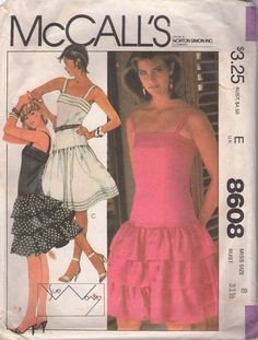 MOMSPatterns Vintage Sewing Patterns - McCall's 8608 Vintage 80's Sewing Pattern INCREDIBLE Designer Sue Wong Double Ruffle Flounce Skirt New Wave Cocktail Party Dress