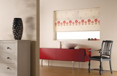 Gorgeous Floral Border - Erin Red Colours, Blinds, Furniture, Fabric Roller Blinds, Home, Storage, Cabinet, Home Decor