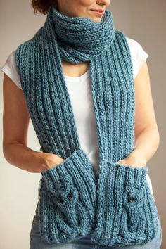 Blue Owl Scarf With Pockets