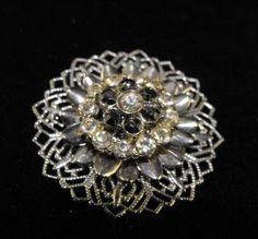 Vintage Brooch 50s Rhinestone Florette Black and by hipcricket, $12.00