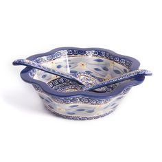 temp-tations® by Tara: temp-tations® Old World Fluted Salad Bowl with Serving Tongs
