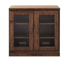 IN WHITE Printer's Double Glass Door Cabinet w/Double Top, Artisanal White stain