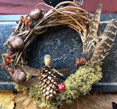 Pagan Yule, Pagan Witchcraft, Wiccan, Wreath Fall, Grapevine Wreath, Mermaid Purse, Fairy Ring, Luna Moon, Pheasant Feathers