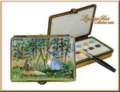 Monet Blanche Painting Watercolor Paint Limoges Box, Art and Artist collectible gifts, www.LimogesBoxCollector.com, French porcelain Limoges boxes