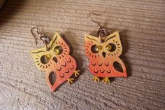 Orange Ombre Owl earrings//hand painted wood//Swarovski crystals//copper loops on Etsy, $11.95