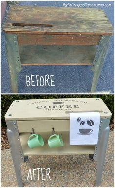 Before and After: Repurposed grungy old workbench Coffee Station with #oldsignstencils from www.mysalvagedtreasures.com