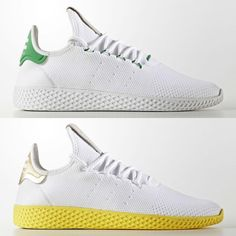 The @Pharrell x Adidas Tennis Hu is expected to hit retail this week in these two colorways