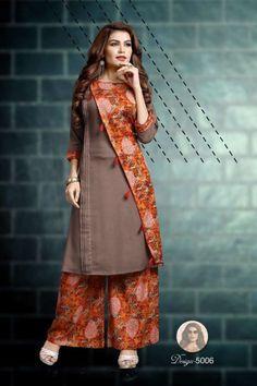 Wholesale Printed Rayon College Wear Kurtis With Palazzo Set. Lkfabkart provides kurti in cheap rates. Salwar Neck Designs, Dress Neck Designs, Kurta Designs Women, Blouse Designs, Pakistani Dress Design, Pakistani Dresses, Trendy Dresses, Fashion Dresses, Iranian Women Fashion