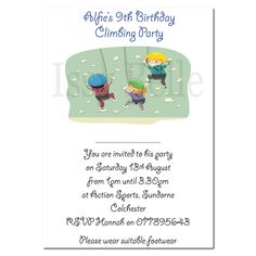 Personalised Invite Childrens Birthday Party Invitations Rock Climbing