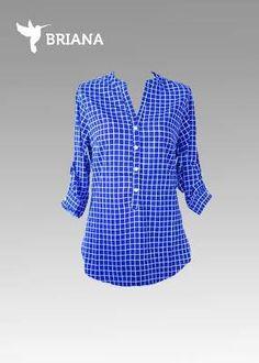 hermosa #blusa en #azul #marino y #cuadros #blancos