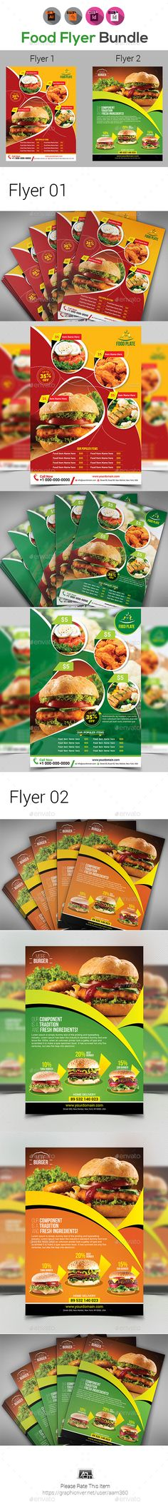 #Restaurant or #Food #Flyer Templates - Restaurant Flyers Download here:  https://graphicriver.net/item/restaurant-or-food-flyer-templates/20426287?ref=alena994