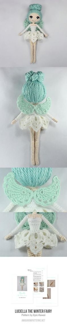 Luciella The Winter Fairy Amigurumi Pattern Knit Or Crochet, Kawaii Crochet, Crochet Winter, Crochet Fairy, Cute Crochet, Crochet For Kids, Crochet Toys, Crochet Crafts, Crochet Stitches