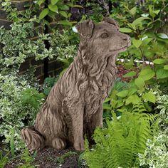 Hund Collie: Antik-patinierter Steinguss aus England. Das Gussmaterial ist eine Mischung a... - gefunden auf www.country-garden.de