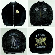 Vintage Japanese Japan Yokosuka Three Headed Monster Machine Godzilla Punk Drunkers Dragon Ryu Tokyo Tower Jumper Tattoo Art Embroidery Embroidered Bomber Sukajan Souvenir Jacket Velvet Velveteen Velour Tour Jacket ( SIZE : M ) - Japan Lover Me Store