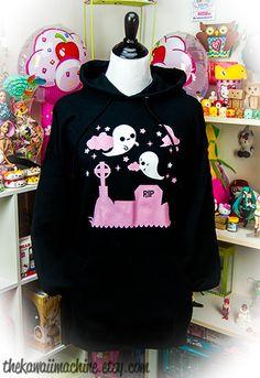 Ghost Graveyard Hoodie Hooded Sweatshirt Kawaii Fairy Kei Pastel Goth USD) by thekawaiimachine Estilo Goth Pastel, Pastel Goth Fashion, Kawaii Fashion, Lolita Fashion, Emo Fashion, Cute Fashion, Fashion Outfits, Gothic Fashion, Fashion Watches