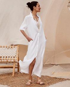 Gauze Maxi Shirt Dress Maxi Shirts, Maxi Shirt Dress, The White Album, Tunic Designs, Polished Look, Gauze Fabric, White Dress, Clothes For Women, My Style