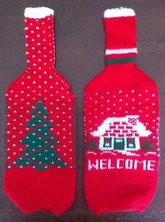 "2 Piece Vintage Christmas Holiday Wine Bottle Sweater Covers 12"" Red Green Xmas"