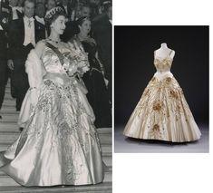 """La Reine Elizabeth portant la magnifique robe de soirée """"les fleurs des champs de France"""" de Norman Hartnell pour un gala de soirée à l'opéra de Paris (avril 1957)"""