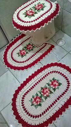 dulcescreacionesdeary: Set of bathroom tissue Crochet Flower Patterns, Crochet Art, Crochet Stitches Patterns, Crochet Home, Crochet Motif, Crochet Crafts, Crochet Doilies, Crochet Projects, Bathroom Sets