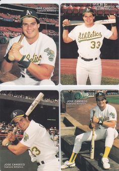 1990 Mother's Cookies Jose Canseco Set - 4 Cards- Oakland A's Mothers Cookies, Jose Canseco, Baseball Cards For Sale, Oakland Athletics, Printed Shorts, Chevron, Athlete, Mint, Fantasy