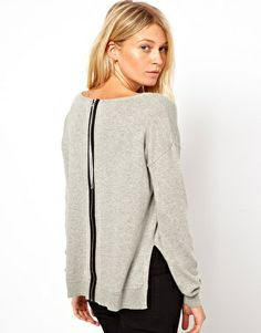 Image 1 of ASOS Sweater With Zip Back Detail