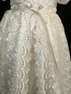 Stunning Off White Lace Christening Gown Baptism by Caremour