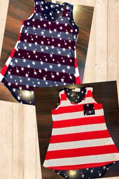 We love this new American Flag tank with sheer back for $25! #USA #4thofJuly