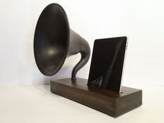 Acoustic  iPad Speaker Dock Utilizing a Vintage Antique 14in Atwater Kent Gramophone Phonograph Horn -MADE to ORDER-. $472.00, via Etsy.