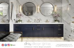 Beautiful Calacatta Marble Slab Walls, Gold Fixtures and Accents with a stunning Navy vanity creates a sleek, classic and gorgeous Master Bathroom for our clients. Contact Dray Design Group via email at: design@draydesigngroup.com to discuss your design needs. Visit: www.draydesigngroup.com #renovation #masterbathroom #interiordesign #design #architecture #goldfixtures #gold #marble #calacatta #navy #vanity #marbleslab #construction #roundmirror #lighting #decorate Navy Blue Bathroom Decor, Blue Bathroom Vanity, Master Bathroom, Silver Bathroom, Grey Bathrooms, Bathroom Vanities, Small Bathroom, Bathroom Decor Pictures, Funny Bathroom Decor