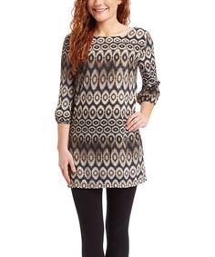 Winter This Taupe & Gray Geometric Tunic Dress is perfect! #zulilyfinds