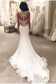 Gorgeous Lace Appliques Mermaid Wedding Dress Button Back #mermaid #weddingdress #weddinggown #bridalgown #weddinggowns