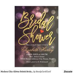 Modern Chic Glitter Bokeh Bridal Shower Invitation