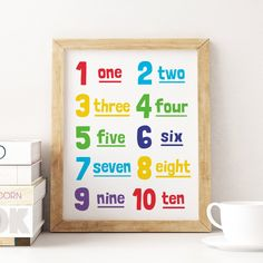 Printable Art: 1-10 Numbers, Colourful Nursery Art, Kids Room Decor, Numbers Wall Art, Playroom Decor, Kids Wall Art *Instant Download* Nursery Decals, Nursery Wall Decor, Nursery Art, Wall Art Decor, Kids Room Art, Art Wall Kids, Art For Kids, Playroom Rules, Playroom Decor
